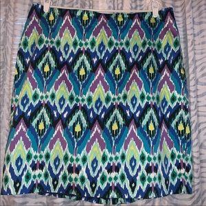 Jones New York Ikat Print Stretch Skirt Vibrant